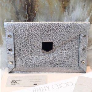 NWOT—Jimmy CHOO Silver leather clutch